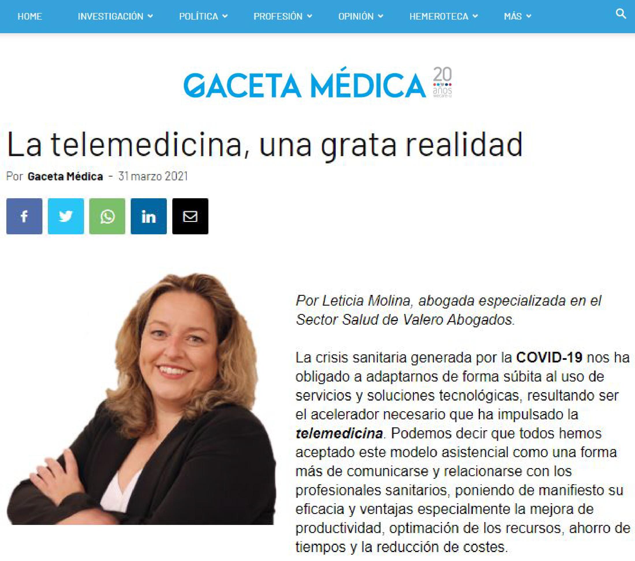 Gaceta Médica - La telemedicina, una grata realidad - Valero Abogados